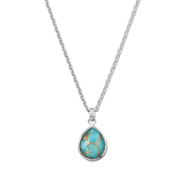 Turquoise & Quartz Pear Shaped Necklace in Sterling Silver