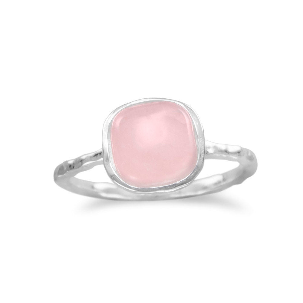 Rose Quartz Stackable Ring in Sterling Silver