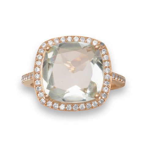 Green Amethyst Halo Ring in Sterling Silver & 14k Rose Gold
