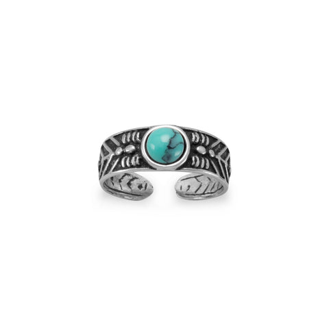Oxidized Turquoise Toe Ring in Sterling Silver