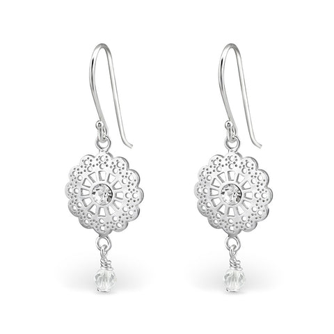 Swirl Design Crystal Sterling Silver Earrings