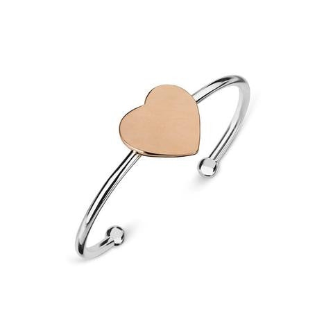 Children's Tiny Treasures Sterling Silver & Rose Gold Heart Cuff Bangle