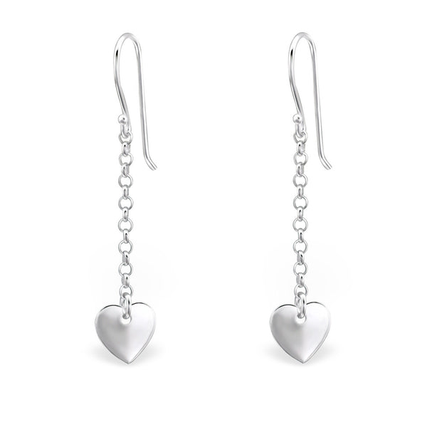 Heart Dangle Sterling Silver Earrings