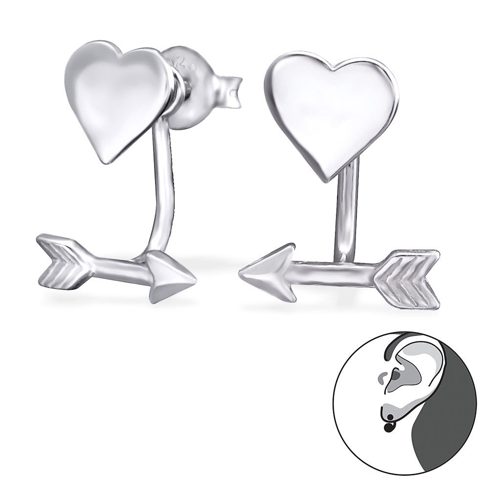 Heart & Arrow Front Back Sterling Silver Earrings