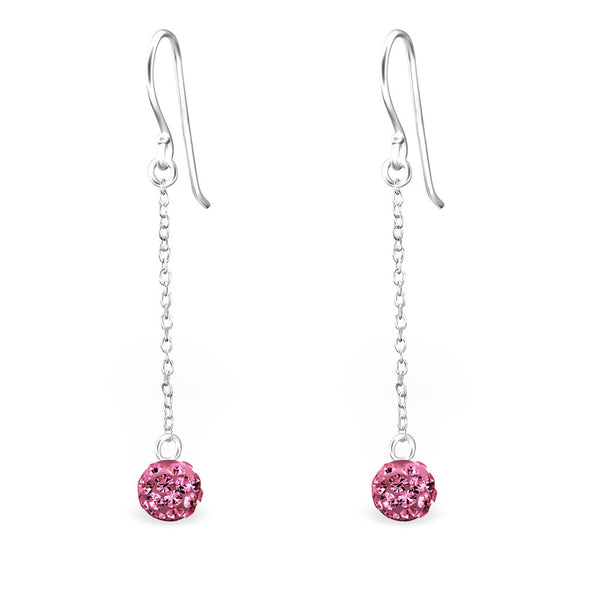Rose Pink Crystal Ball Sterling Silver Earrings