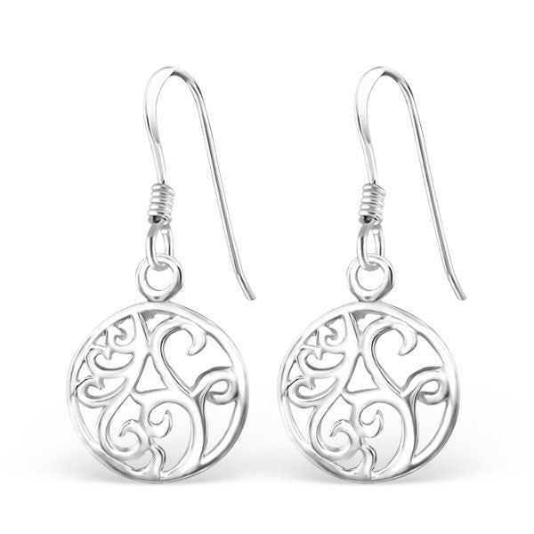 Round Swirl Design Sterling Silver Earrings