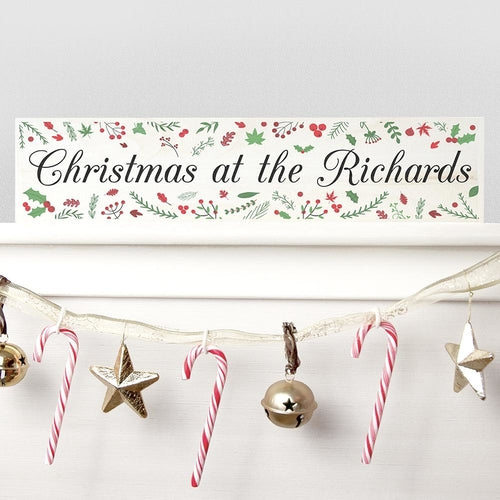 Personalised Holly Festive Christmas Mantle