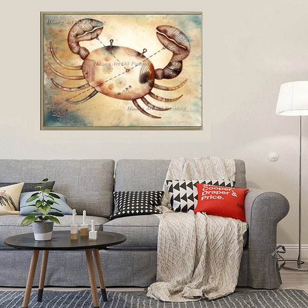 Hand-painted Zodiac Cancer Oil Painting On Canvas Crab