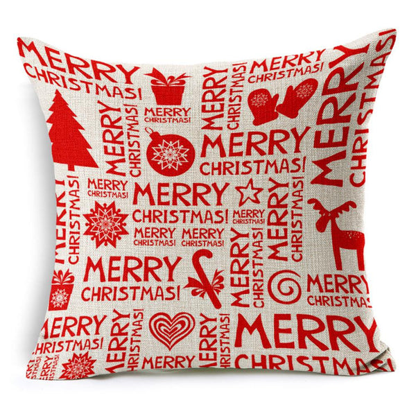 Merry Christmas Cotton Linen Blended Pillow Case Cushion Cover