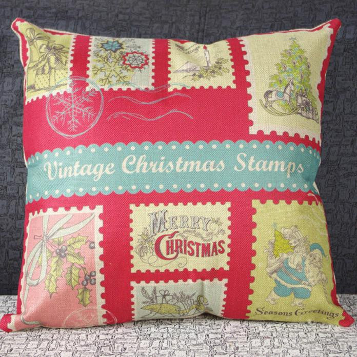 Vintage Christmas Sofa Bed Home Decor Pillow Case Cushion Cover