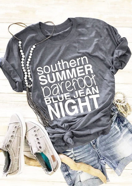 Southern Summer Barefoot Blue Jean Night Hipster T-Shirt Gray Clothing Stylish Vintage Tee Femela Cotton Camisetas Tops t shirt