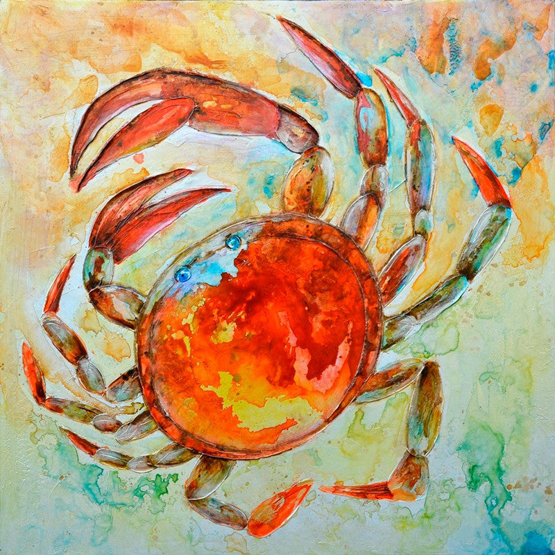 Large Handmade Abstract Oil Painting On Canvas Hand-painted Crab Painting