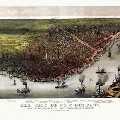 Vintage Map of New Orleans Louisiana 1885 Orleans Parish County Poster Print (18 x 24)