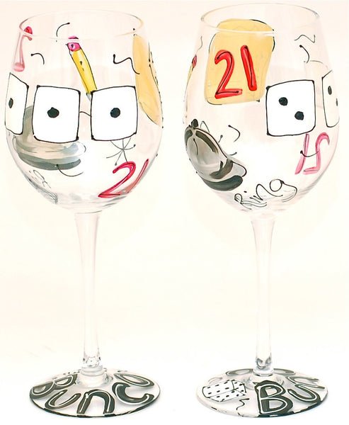 Bunco Party - Hand Painted Bunco Party Glass - Personalization Available