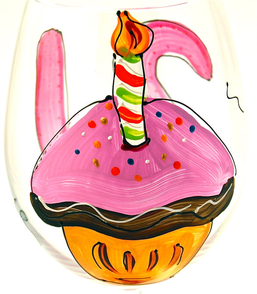 Birthday Cupcake -  Hand Painted - Personalization Available