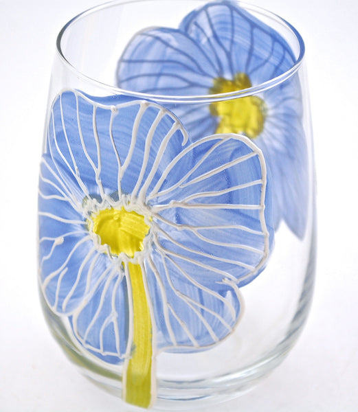 "BOSO 50%  Floral Poppy Blue ""Jessica""  BUY A GLASS, SEND A GLASS - VIRTUAL HAPPY HOUR!"