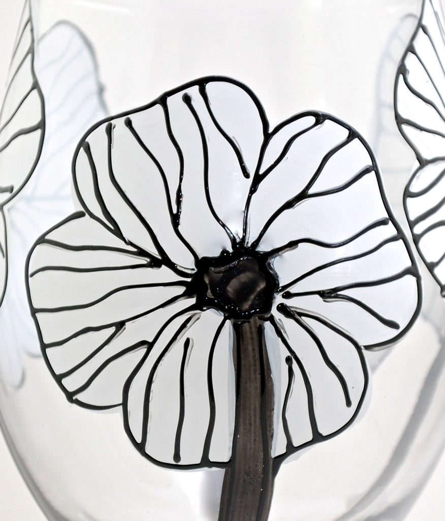 "Floral Poppy ""Fiona"" - Hand Painted White Poppy Flower Glass"