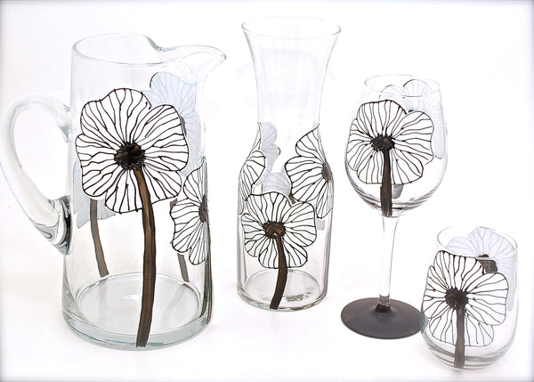 "BOSO 50%  Floral Poppy White ""Fiona""  BUY A GLASS, SEND A GLASS - VIRTUAL HAPPY HOUR!"