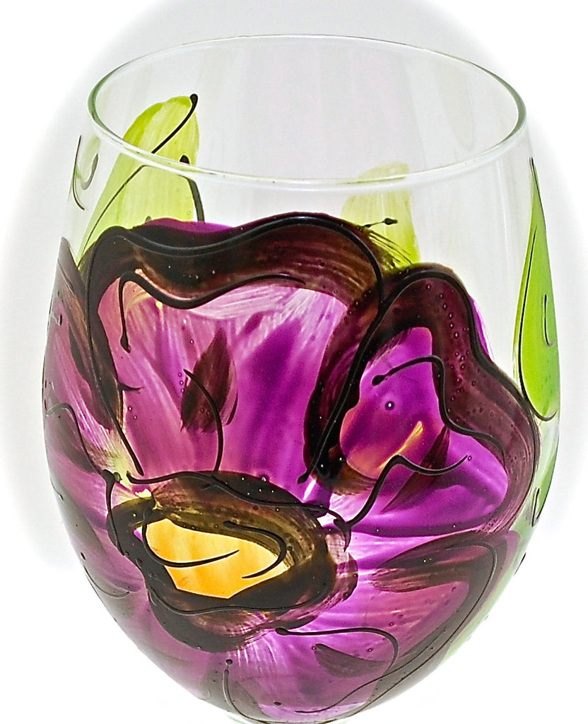 "Floral Purple Pansy ""Patsy""  Hand Painted Purple Pansy Flower Glass"