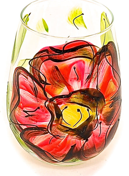 "BOSO 50%  Floral Poppy Red ""Paige""  BUY A GLASS, SEND A GLASS - VIRTUAL HAPPY HOUR!"