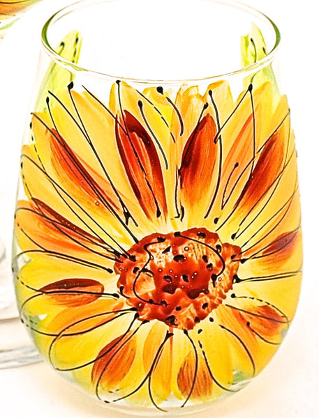 "BOSO 50%  Floral Sunflower Yellow ""Susan""  BUY A GLASS, SEND A GLASS - VIRTUAL HAPPY HOUR!"