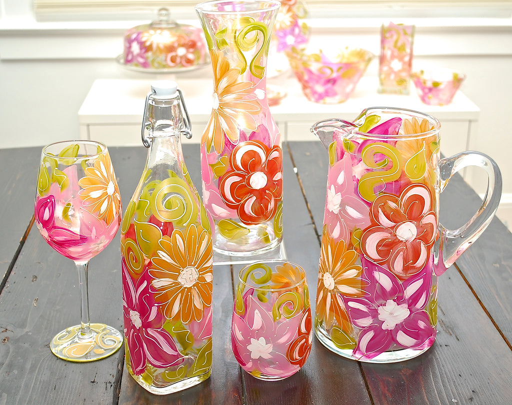 "Floral ""Lizzy"" - Hand Painted Flower Glass"