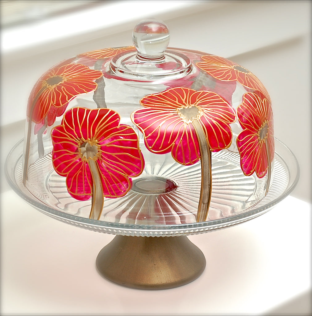 "Floral Poppy ""Rebecca""  - Hand Painted Red Poppy Flower Glass"