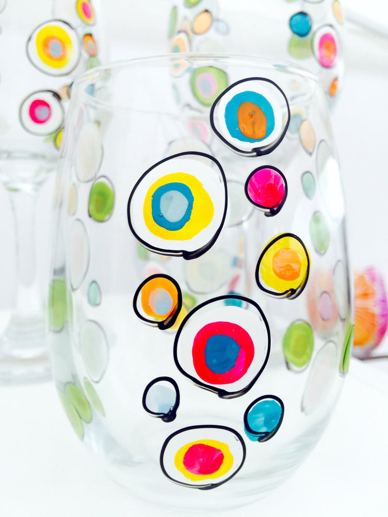 Cha Cha Cha - Festive Hand Painted Polka Dot Glass
