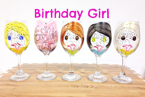 Birthday Girl Custom Wine Glass