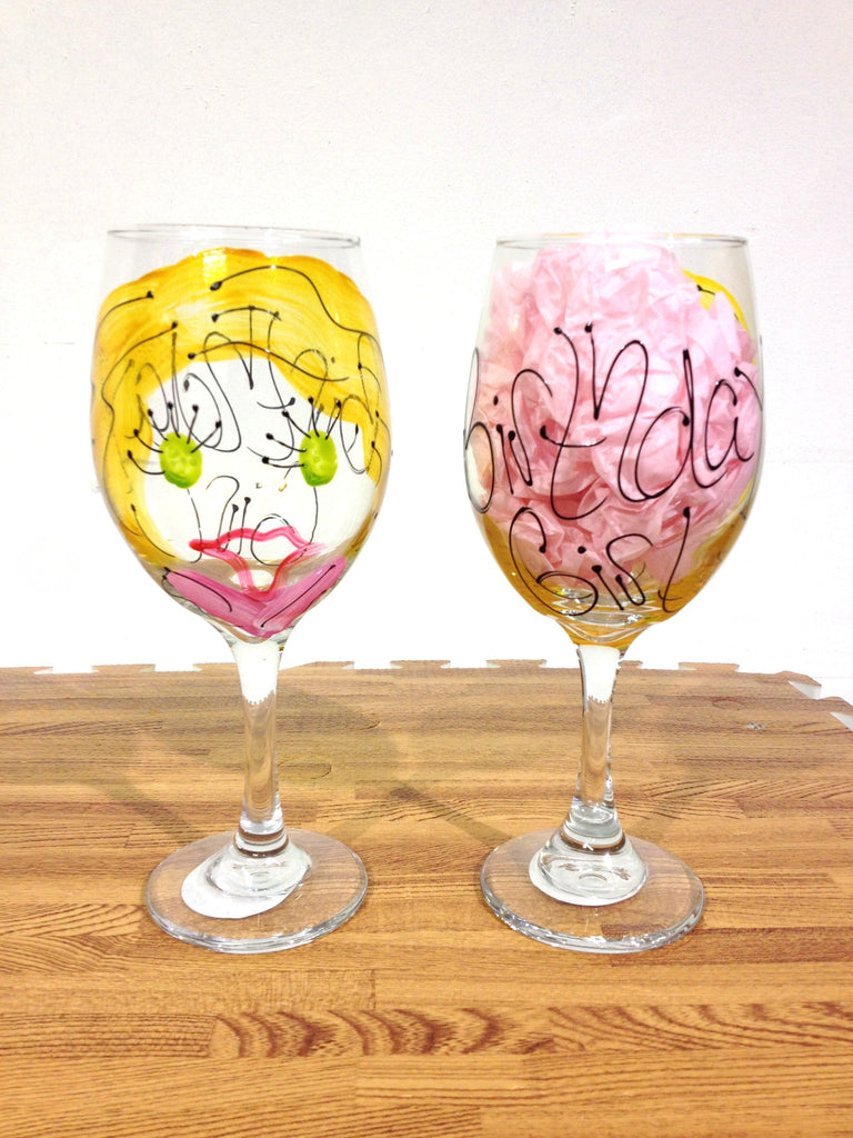 Birthday Girl - Hand Painted Birthday Girl Glass - Personalization Available
