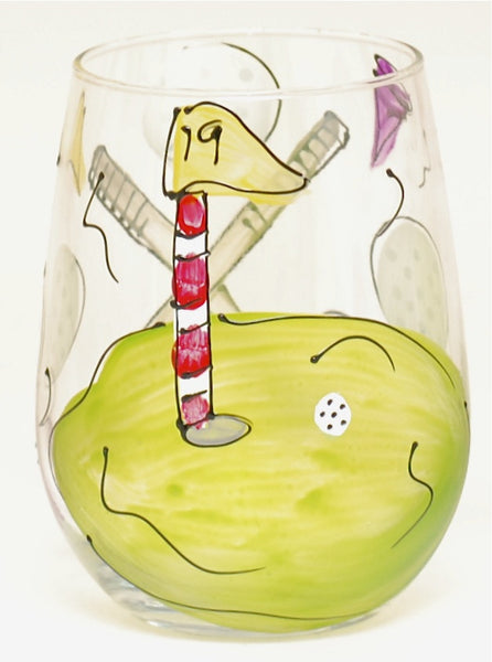 Golf Hand Painted Golf Glass