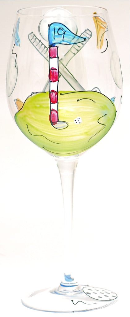 """Golf"" Hand Painted Golf Glass - Perfect Father's Day Gift"