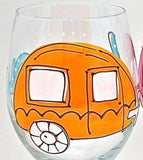 Happy Camper - Hand Painted Camper Trailer Glass