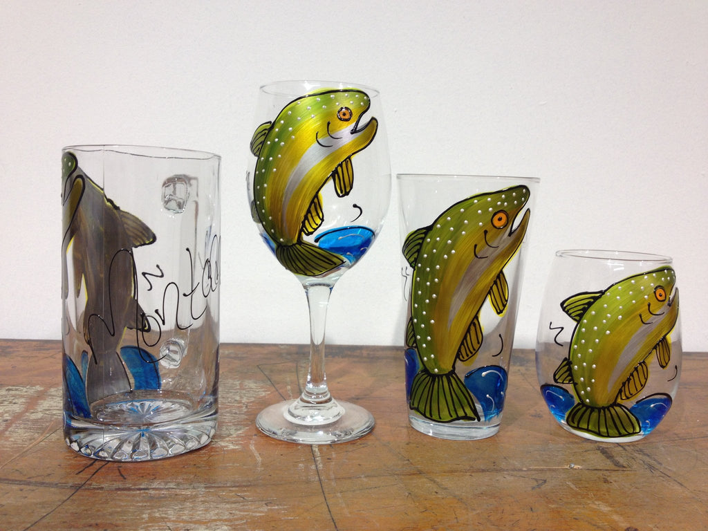 Gone Fishing - Hand Painted Fish Glass
