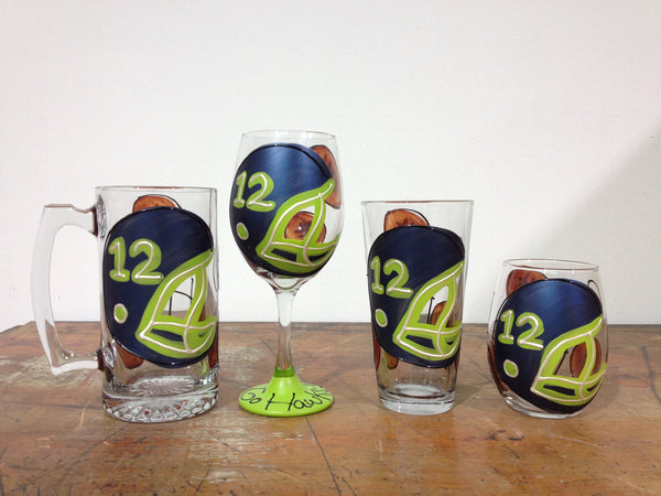 Seahawk #12 Football Helmet - Hand Painted Football Glass