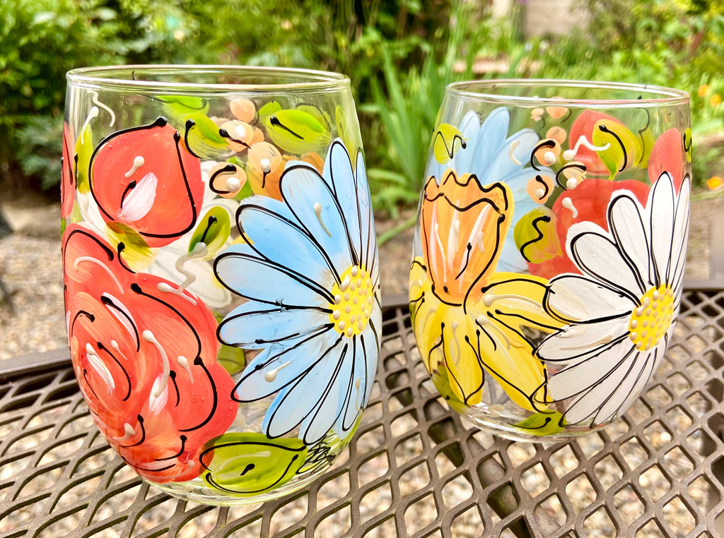 Wholesale Flower Pack 24 Hand Painted Glasses
