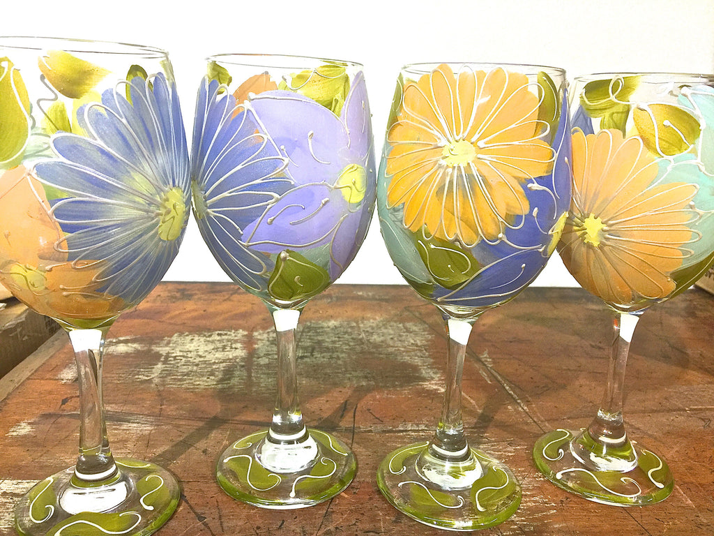 "Floral Pastel ""Faye"" Hand Painted Flower Glass"