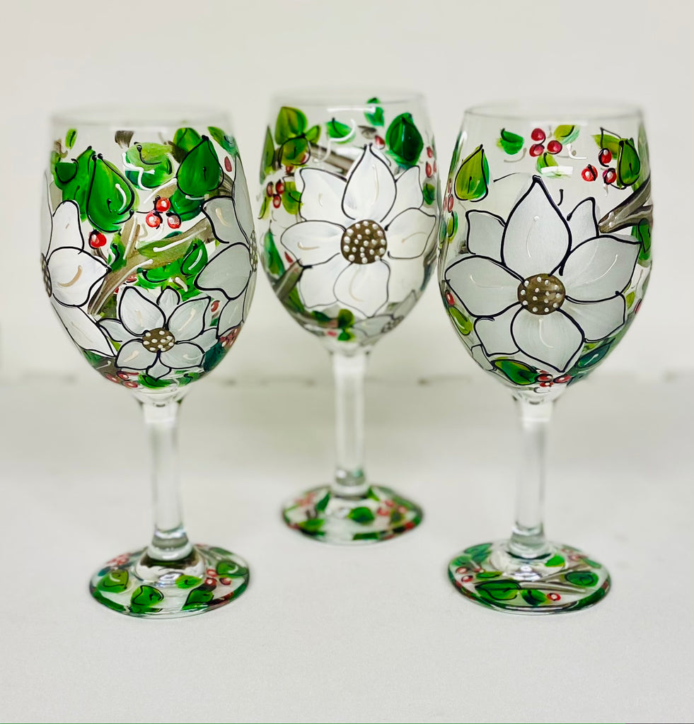 Holiday White Poinsettia Hand Painted Floral Glass set of 2 or 4