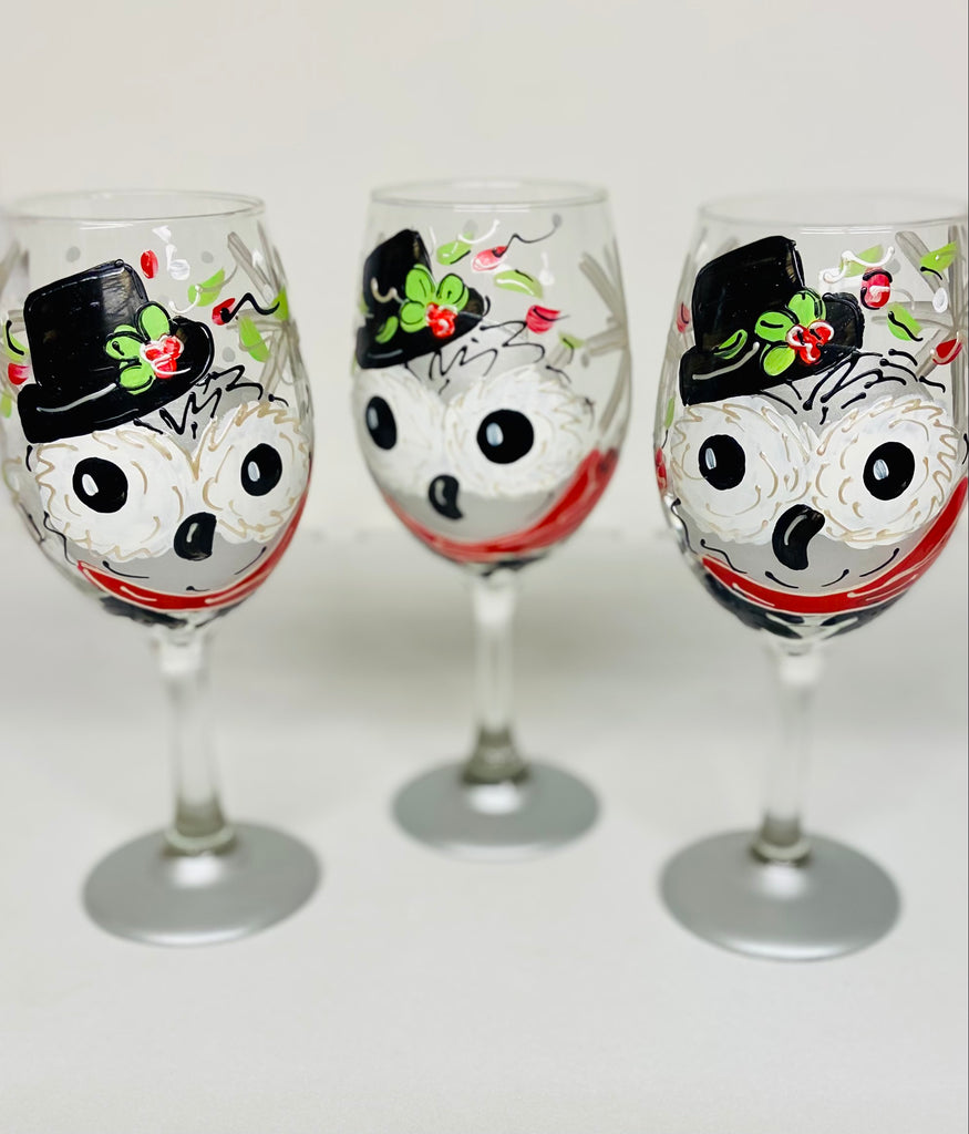 Holiday Horton Owl Hand Painted Wine Glass