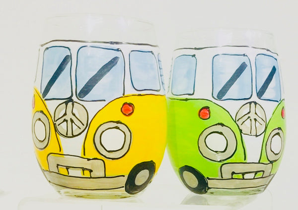 VW Bus - Hand Painted Old School Fun VW Bus Glass