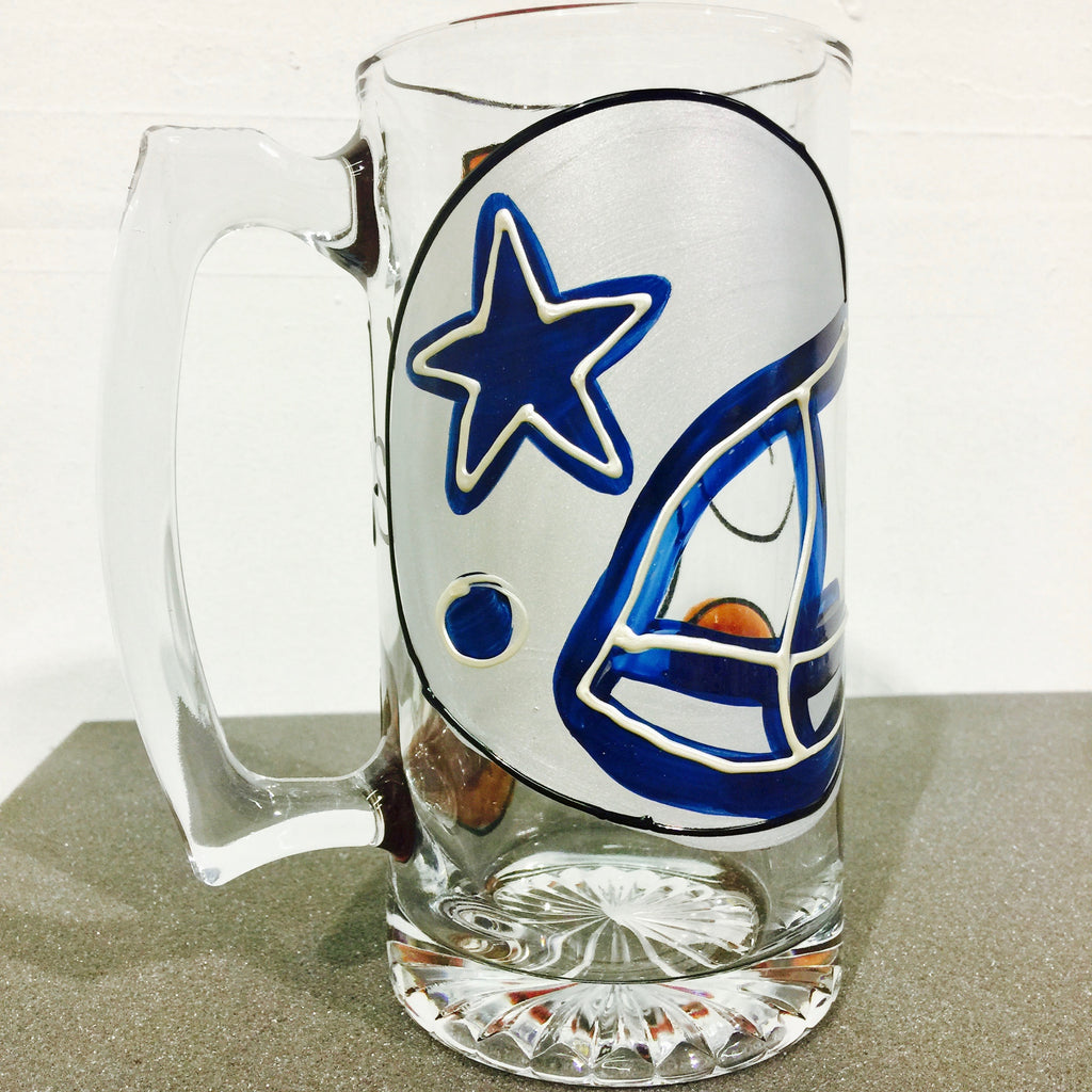 Sport Football - ANY Team!  Hand Painted Sport Team Glass - Choose YOUR Team.