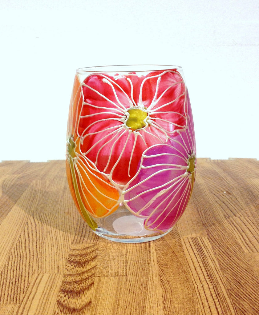 "Floral Poppy Mix ""Lilia"" - Hand Painted Poppy Flower Glass"