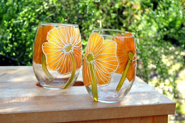 "BOSO 50%  Floral Poppy Yellow ""Jenny""  BUY A GLASS, SEND A GLASS - VIRTUAL HAPPY HOUR!"