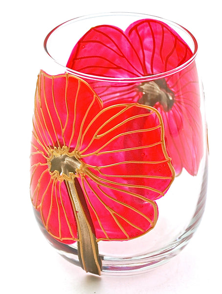 "BOSO 50%  Floral Poppy Red ""Rebecca""  BUY A GLASS, SEND A GLASS - VIRTUAL HAPPY HOUR!"
