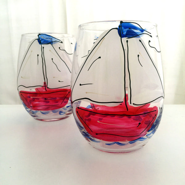 "Beach ""Sailboat""  - Hand Painted Sailboat Glass"