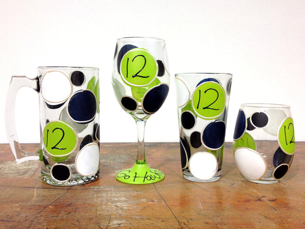 Seahawk Football Polka Dot #12 - Hand Painted Glass