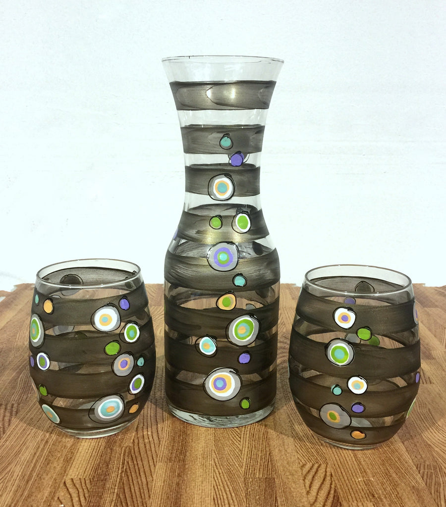 "Dots & Stripes ""Side Car"" Hand Painted 5 piece Decanter & Glass Set"