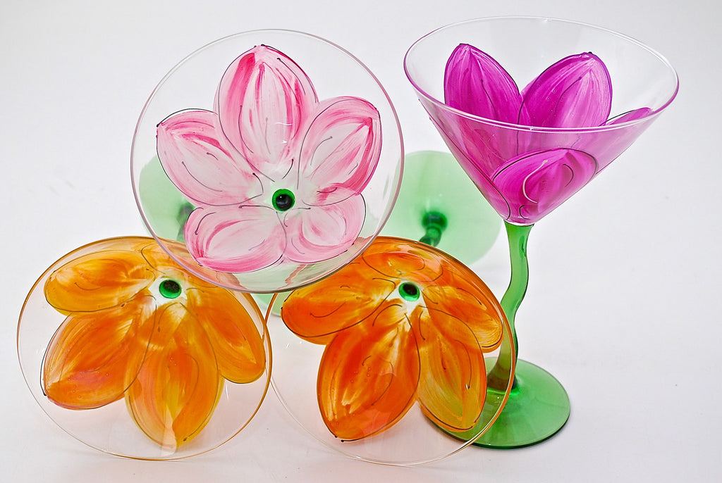 "Floral ""Tulip""  Hand Painted Tulip Flower Glass"