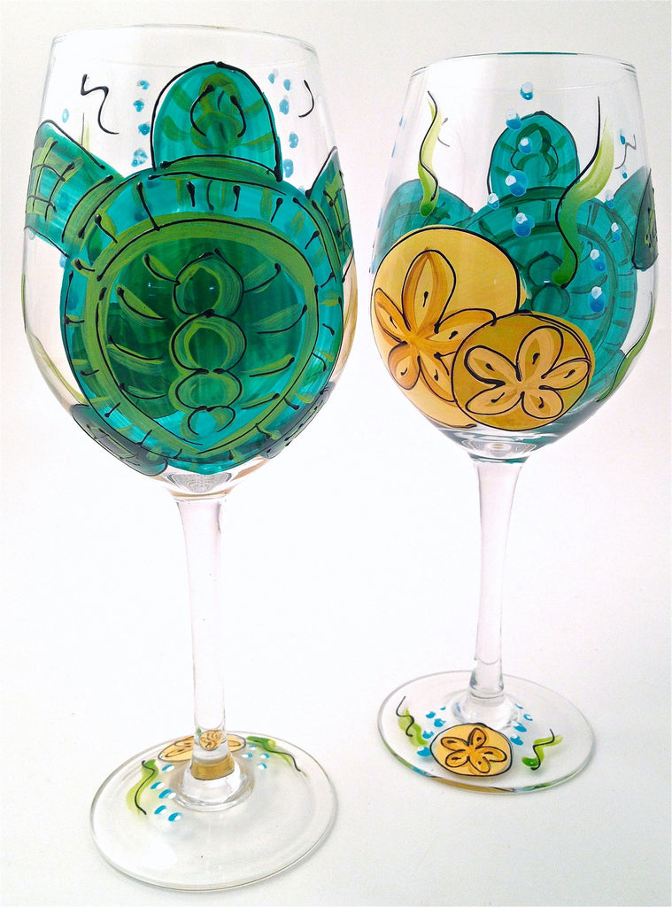 "Beach Life ""Turtle""  Hand Painted Turtle Glass"
