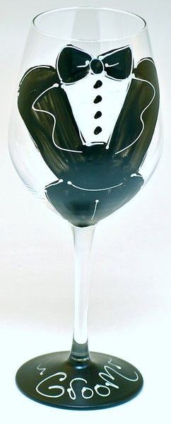 "Wedding ""Groom Tux""  Hand Pained Tux Glass for the Groom - Personalization Available"